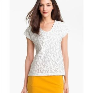 DVF off white lace short sleeves top overall Small